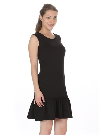 Limon Company Kolsuz Eteği Volanlı Elbise Siyah